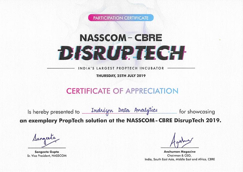 CBRE Disruptech Certificate